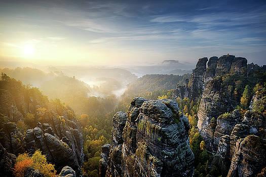 Foggy sunrise at Bastei, Saxon Switzerland, Germany by Marek Kijevsky