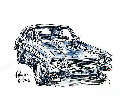 Frank Ramspott - Ford Capri 2600 RS Fountain Pen Ink Drawing