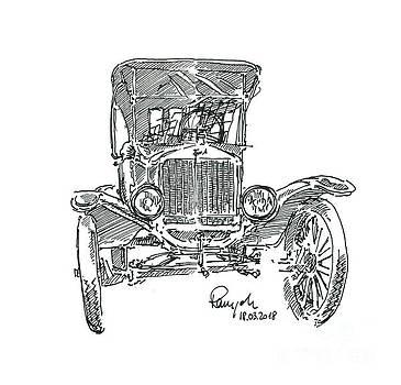 Frank Ramspott - Ford Model T Tin Lizzie Oldtimer Fountain Pen Ink Drawing