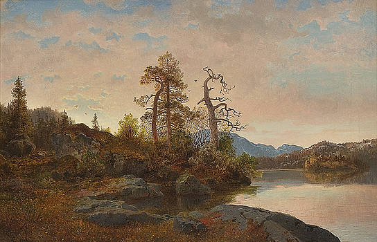 Forest Landscape with Lake by Hans Fredrik