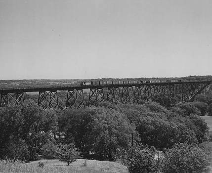 Chicago and North Western Historical Society - Freight Train Crossing Iowa High Bridge - 1957