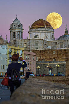 Full Moon Over the Cathedral Cadiz Spain by Pablo Avanzini