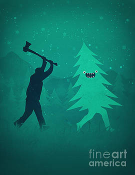 Funny Cartoon Christmas tree is chased by Lumberjack Run Forrest Run by Philipp Rietz