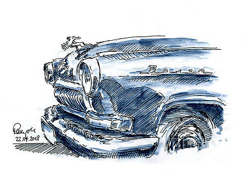 Frank Ramspott - GAZ Wolga Oldtimer Fountain Pen Ink Drawing