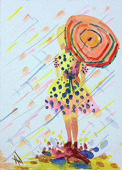 Girl with Umbrella by Patricia Lazaro