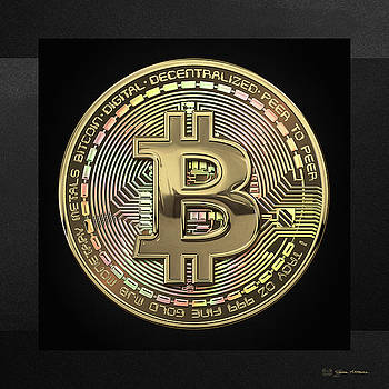 Serge Averbukh - Gold Bitcoin Effigy over Black Canvas