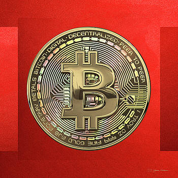 Serge Averbukh - Gold Bitcoin Effigy over Red Canvas