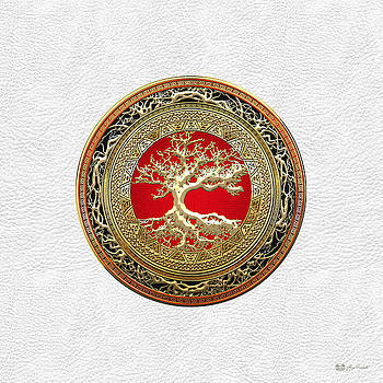 Gold Celtic Tree of Life on White Leather  by Serge Averbukh