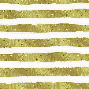 Gold Hearts Stripes by Ps
