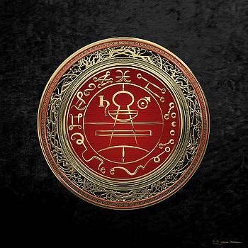 Gold Seal of Solomon - Lesser Key of Solomon on Black Velvet  by Serge Averbukh