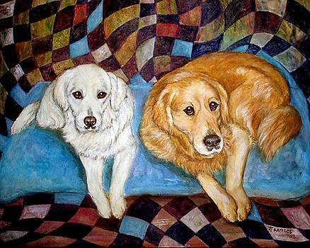 Golden Retrievers Best Friends by Frances Gillotti