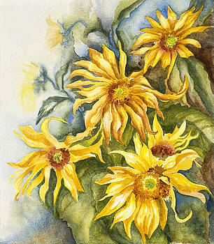Golden Sunflowers by Gail M Austin