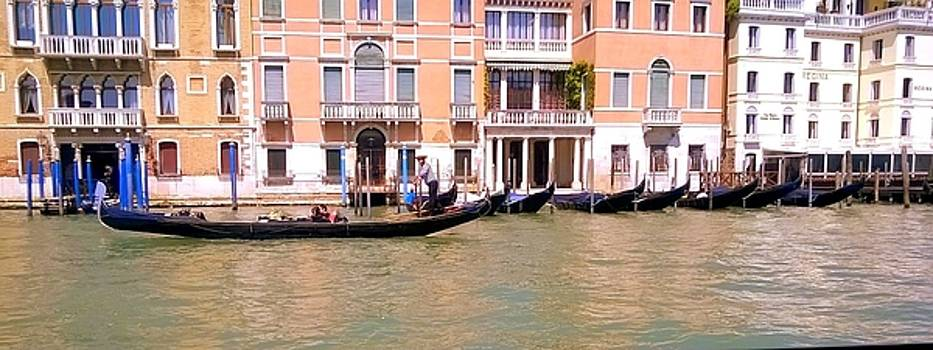 Gondolas on the Grand Canal  Venice by Rusty Woodward Gladdish