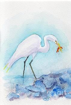 Great White Egret fishing by Doris Blessington