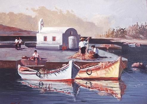 Greek island scene by George Siaba