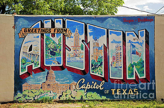 Herronstock Prints - Greetings From Austin Capital of Texas Postcard Mural