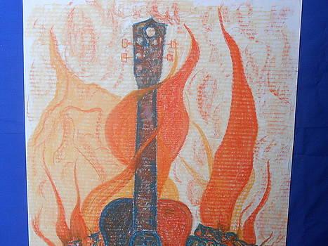 Guitar Fireplace by Darlene Custer