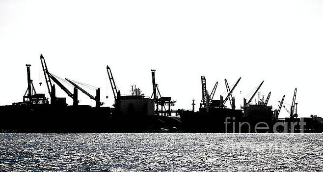 Harbor Cranes in Silhouette by Yali Shi