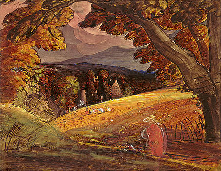 Samuel Palmer -  Harvesters by Firelight