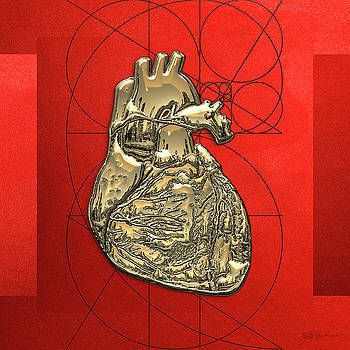 Serge Averbukh - Heart of Gold - Golden Human Heart on Red Canvas