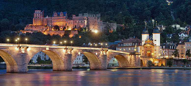Heidelberg at night by Travel Images Worldwide