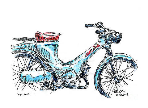 Frank Ramspott - Heinkel Perle Classic Moped Ink Drawing and Watercolor