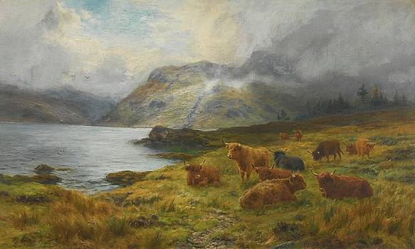 Highland Cattle Resting By A Loch by MotionAge Designs