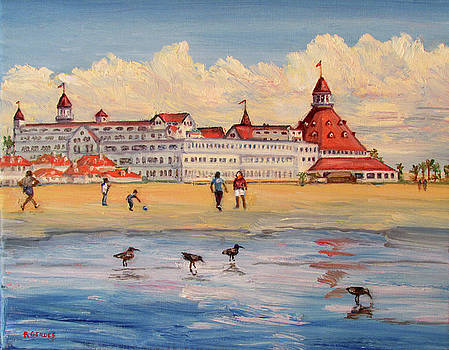 Hotel Del Coronado with Shorebirds by Robert Gerdes