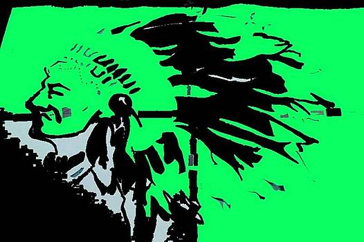 Indian Warrior in Green and Black by Art Speakman