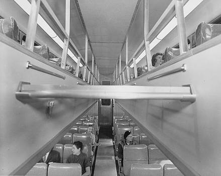 Chicago and North Western Historical Society - Inside Bilevel Passenger Car - 1958