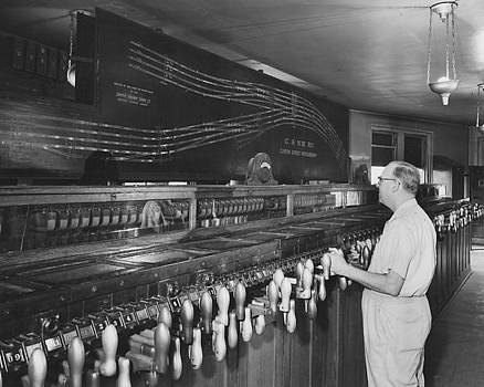 Chicago and North Western Historical Society - Inside Clinton Street Interlocking Plant - 1958