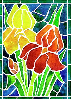 Irises in Stained Glass  by Janis Grau
