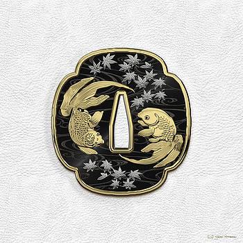 Japanese Katana Tsuba - Twin Gold Fish on Black Steel over White Leather by Serge Averbukh