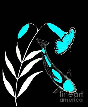Japanese Koi Kohaku Lily painting by Gordon Lavender