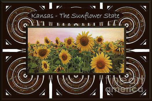 Kansas - The Sunflower State Button by L Wright