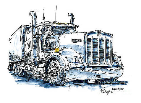 Frank Ramspott - Kenworth Truck Ink Drawing and Watercolor