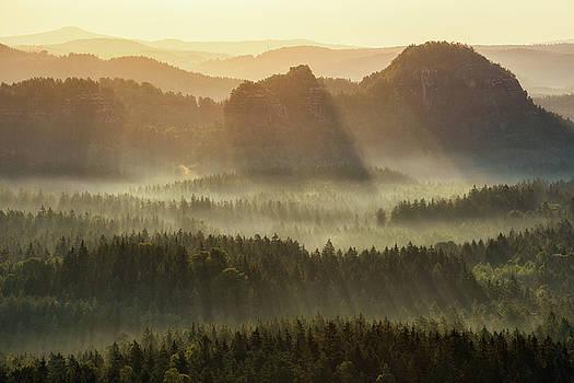 Kleiner Winterberg silhouettes, Saxon Switzerland, Germany by Marek Kijevsky