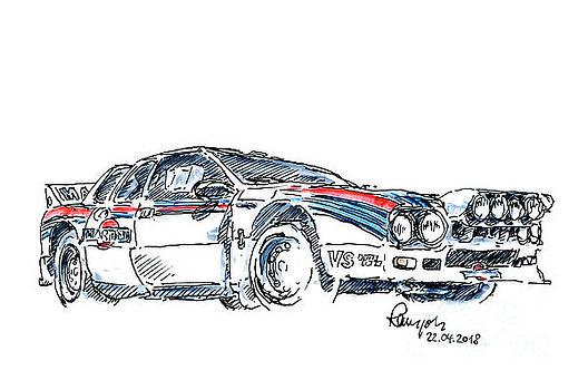 Frank Ramspott - Lancia Rallye 037 Group B Fountain Pen Ink Drawing