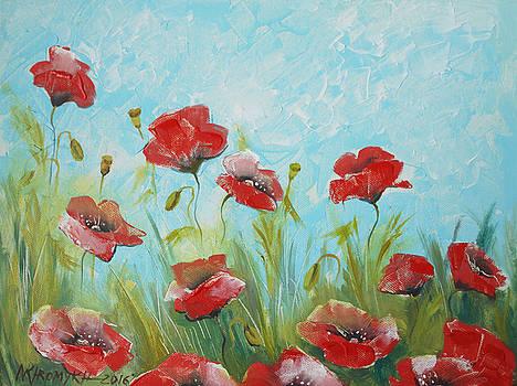 Landscape With Poppies by Khromykh Natalia