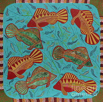 Large Barramundi Swimming  by Clifford Madsen