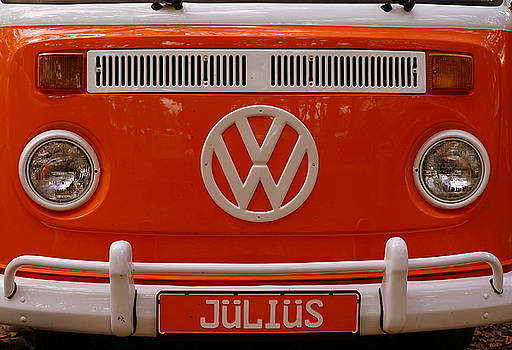 Vintage Orange VW Bus by Laurie Perry