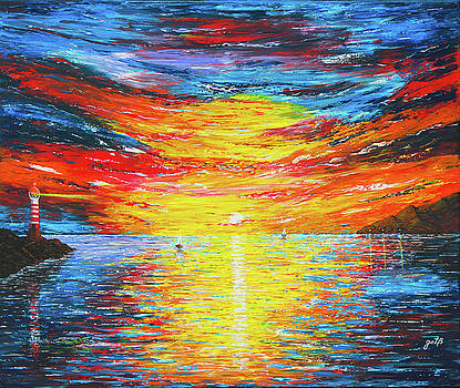 Lighthouse Sunset Ocean View palette knife original painting by Georgeta Blanaru