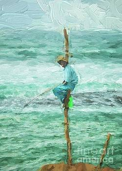 Local fisherman on a pole by Patricia Hofmeester