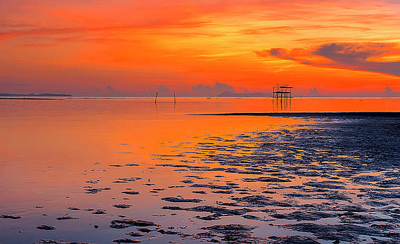 Lonely hut in sea at sunrise by Pradeep Raja PRINTS