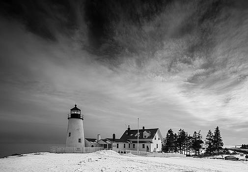 Ranjay Mitra - Maine Pemaquid Lighthouse in Winter Snow
