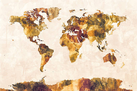 Michael tompsett artwork collection map art michael tompsett map of the world map watercolor painting gumiabroncs Image collections