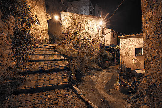 Medieval town street at night by Nickolay Khoroshkov