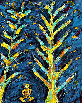 Meditating Master in Night Forest by Maggis Art