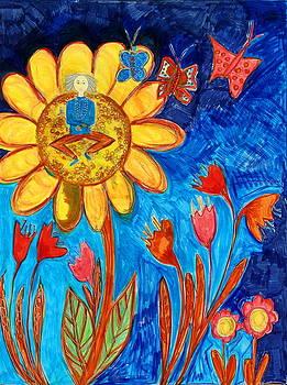 Meditating Master on Giant Sunflower by Maggis Art