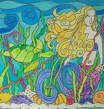 Mermaid Turtle Love by Coni Brown
